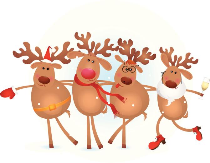 four happy deers celebrating christmas